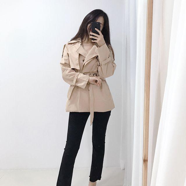 보네르시아 - 크로스 크롭 트렌치 숏 허리라인 벨트 자켓 (2color)