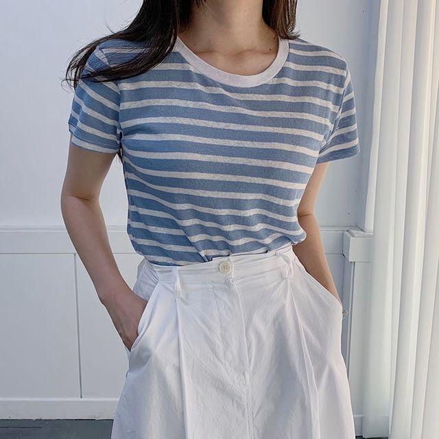 솔리데이 - 린넨 스트라이프 티셔츠 (2color)