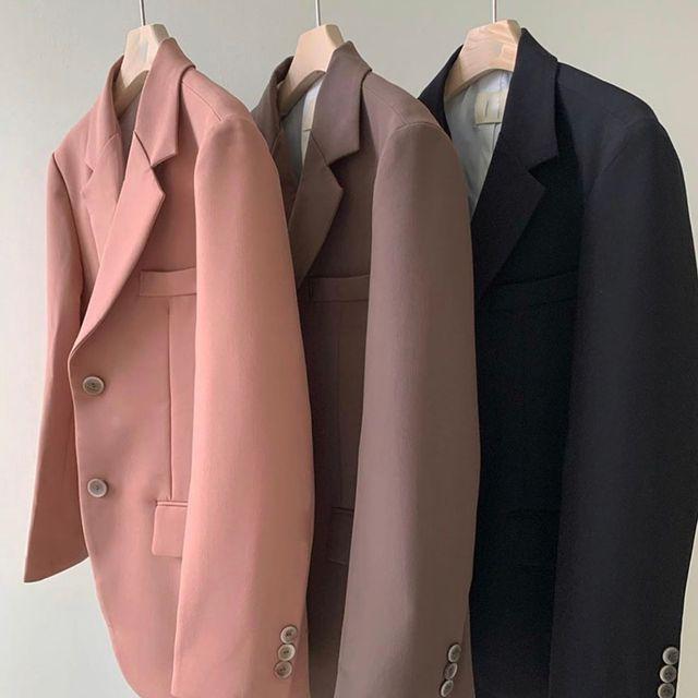 솔리데이 - 싱글 투버튼 오버핏 자켓 (3color)