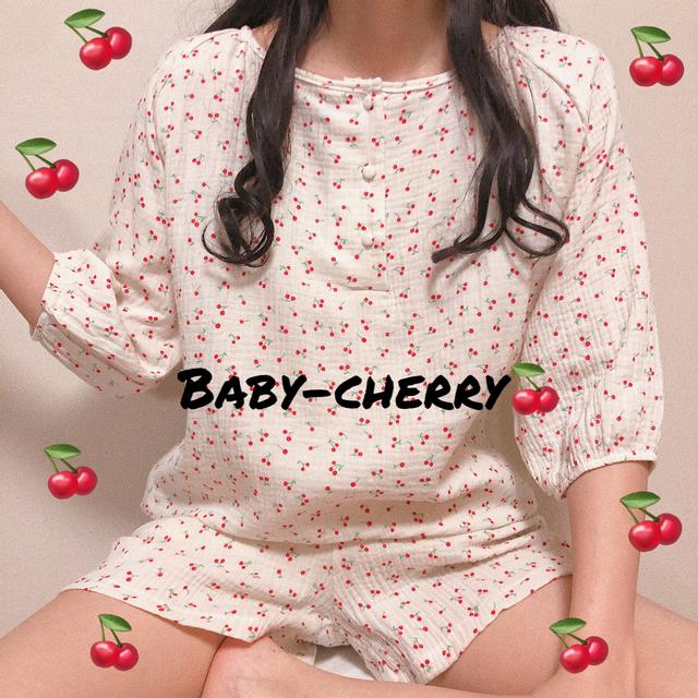 mildmoon - 베이비체리 파자마+체리 파우치 (여름 간절기 반팔 잠옷 세트)_마일드문