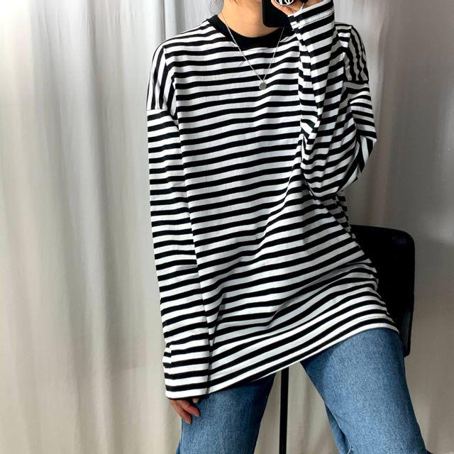 정클로(JUNGCLO) - [정클로] 삐삐 넓은 단가라 티셔츠