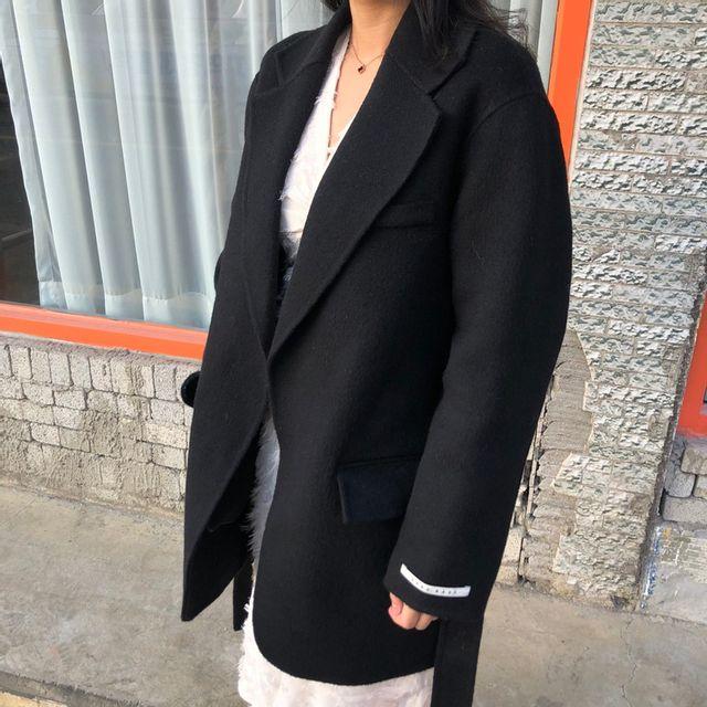 미비쥬 - [무배]울95% 핸드메이트 루즈핏 뒷트임 벨트 자켓
