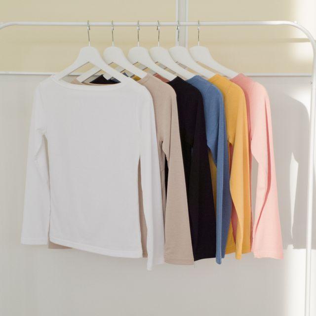 피치선셋 - 베이직 긴팔 보트넥 티셔츠