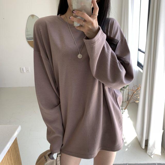 유니피즈 - (기획세일) 루즈핏 오버핏 라운드넥 무지 긴팔 티셔츠(18color)