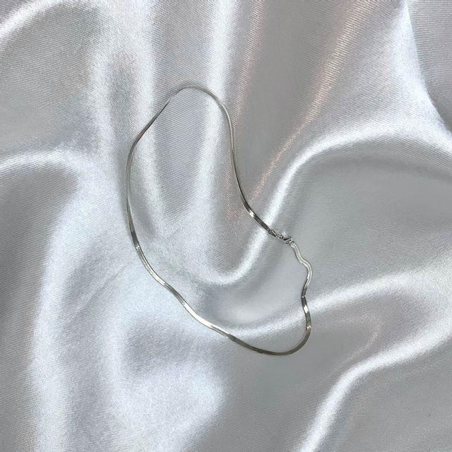 로에트 - [무배]프리미엄 Silver 헤링본 체인 심플포인트 목걸이