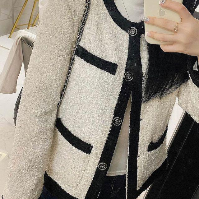 riannee - 배색 라운드넥 트위드 자켓