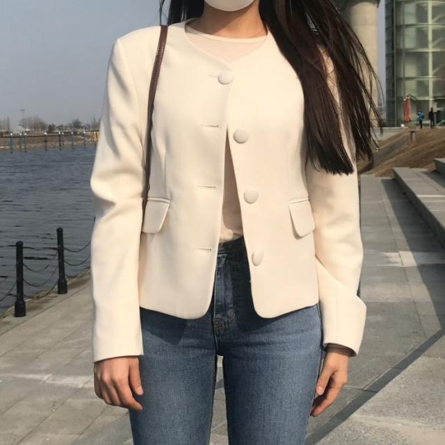 프리모드 - 마카롱 라운드 노카라 자켓