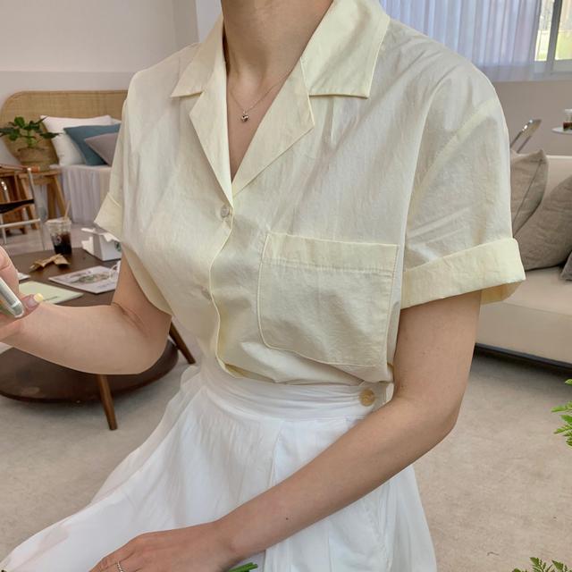 그랩미제이 - 카라 포켓 반팔 셔츠 남방